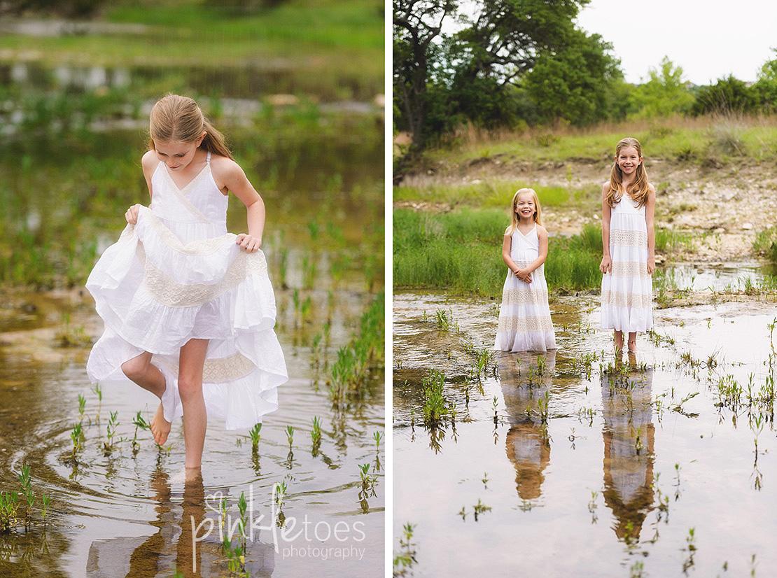 austin-family-classic-portraiture-girls-white-dresses-texas-wildflowers-stream-17